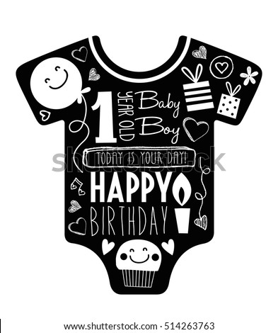 Vector birthday card for one year old baby boy. with baby clothes background full of decorations and typography.