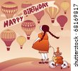 vector birthday card with girl, toy monkey and hot air balloons - stock photo