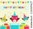 Vector birthday party card with funny birds - stock vector