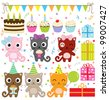 Vector birthday party elements with cute cat. - stock vector