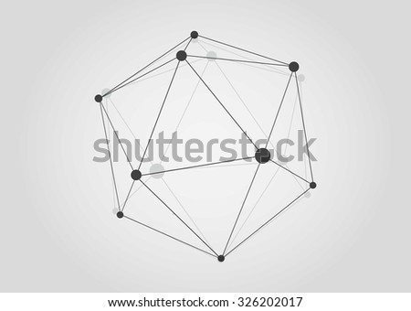 Vector Black and White Lattice Shape Symmetric Lined Object with Dots.