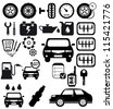 Vector black auto icons set. Car EPS 8 - stock vector