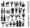 vector black beverages icon set on white - stock vector