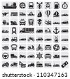 vector black big transportation icon set on gray - stock