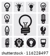 vector black bulbs icons set on gray - stock vector