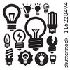 vector black bulbs icons set on white - stock vector