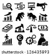 vector black business icon set on white - stock vector