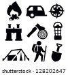 vector black camping icon set on white - stock vector