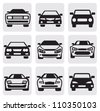 vector black car symbols set in the gray squares - stock vector