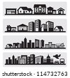 vector black cities silhouette icon set on gray - stock photo