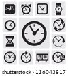 vector black clocks icons in the gray squares - stock