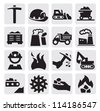 vector black coal mining industry icons set - stock photo
