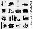 vector black coal mining industry icons set - stock