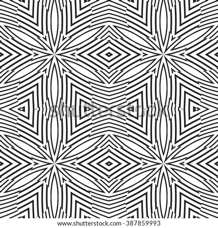 vector black color abstract optical art illusion design decoration seamless pattern isolated white background