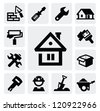 vector black construction icons set on gray - stock vector