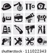 vector black construction tools icons set on gray - stock vector