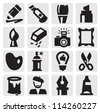 vector black creative icons set on gray - stock vector