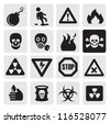 vector black danger icons set on gray - stock photo