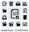 vector black document icons set on gray - stock photo