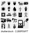 Vector black eco energy icons set on gray. Solar and wind energy - stock vector