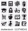 vector black education icons set on gray - stock vector