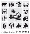 vector black farm icon set on gray - stock vector