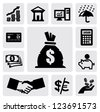 vector black finance icons set on gray - stock photo