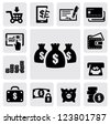 vector black finance icons set on gray - stock vector