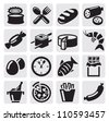 vector black food icons se on gray - stock vector