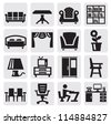 vector black furniture and home icons set - stock vector