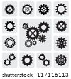 vector black gearwheel mechanism icon set on gray - stock