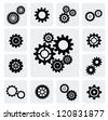 vector black gearwheel mechanism icon set on gray - stock photo