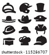vector black hats icons set on gray - stock vector