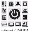 vector black home appliances icon set on gray - stock vector