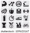 Vector black icons on fitness - stock vector