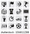 vector black Icons set Soccer - stock vector