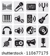 vector black music icons set on gray - stock vector