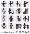 vector black occupations icons set on gray - stock vector