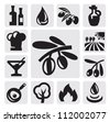 vector black olive icons set on gray - stock vector