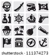 vector black pirates icons set on gray - stock photo