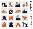 vector black power generation icons set on gray - stock