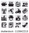 vector black reporter icons set on gray - stock vector
