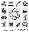 vector black science set on gray background - stock vector