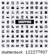 vector black shopping icons on gray background - stock vector