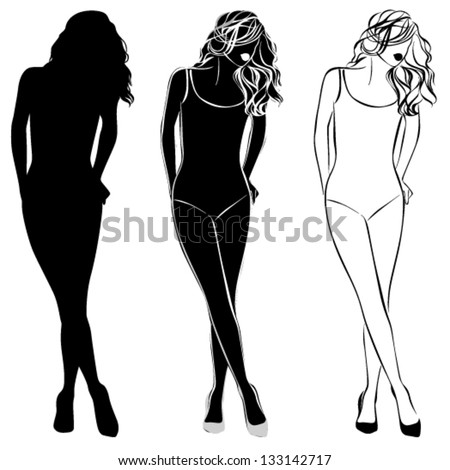 Vector black silhouette of beautiful woman isolated on the white background
