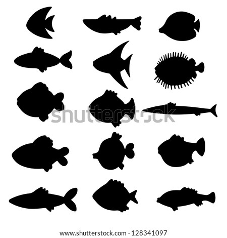 Vector black silhouettes fish set. Icons. Abstract design logo. Logotype art