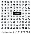vector black sports icons set on gray - stock photo
