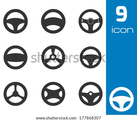 Vector black steering wheels icons set white background stock vector