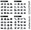 vector black transport icons set on gray - stock vector