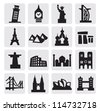 vector black travel and landmarks icons set - stock vector